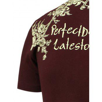 Half Button Embellished Flowers Printed T-Shirt - WINE RED WINE RED