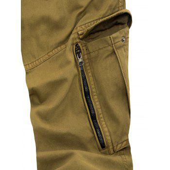 Pockets Zipper Fly Slimming Applique Pants - KHAKI 32