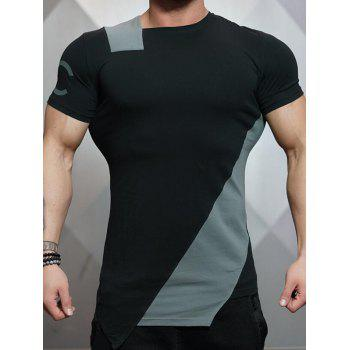 Asymmetrical Short Sleeve Color Block Tee - GRAY GRAY