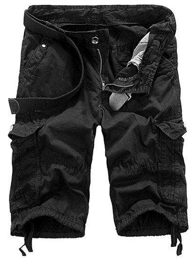 Loose Fit Straight Leg Multi-Pocket Lacing Cuffs Men's Zipper Fly Shorts - BLACK 34