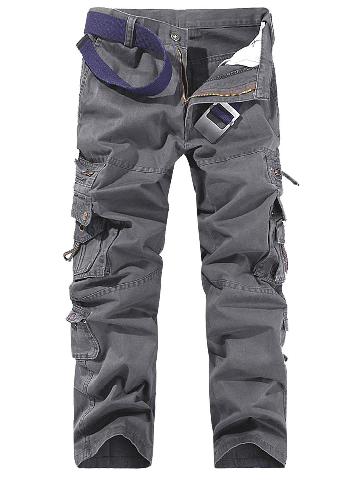 String Design Embroidered Cargo Pants, Deep gray