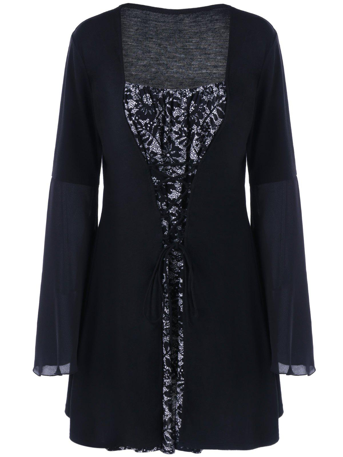 2018 Plus Size Flare Sleeve Lace Up Gothic Dress Black Xl In Dresses