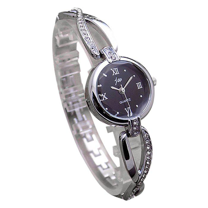 JW Alloy Rhinestone Bracelet Watch - SILVER/BLACK