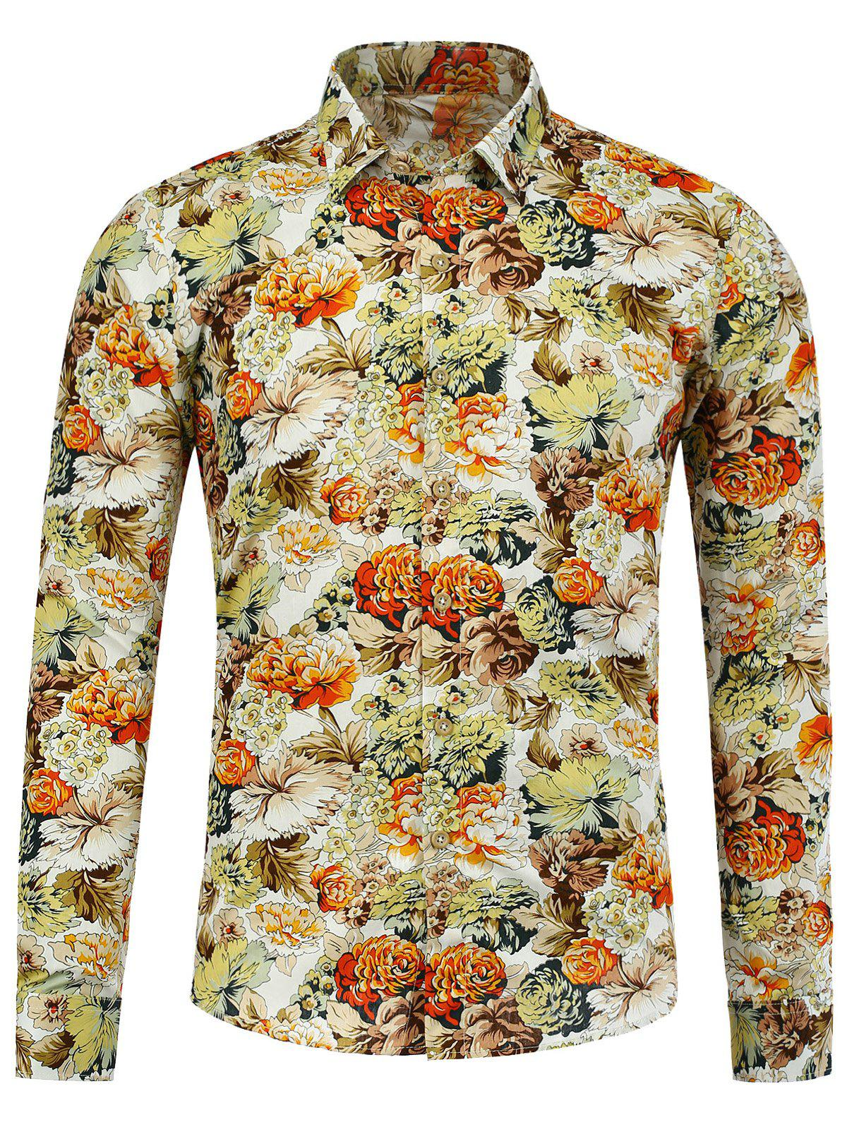 Long Sleeve Peony Printed Shirt - FLORAL XL