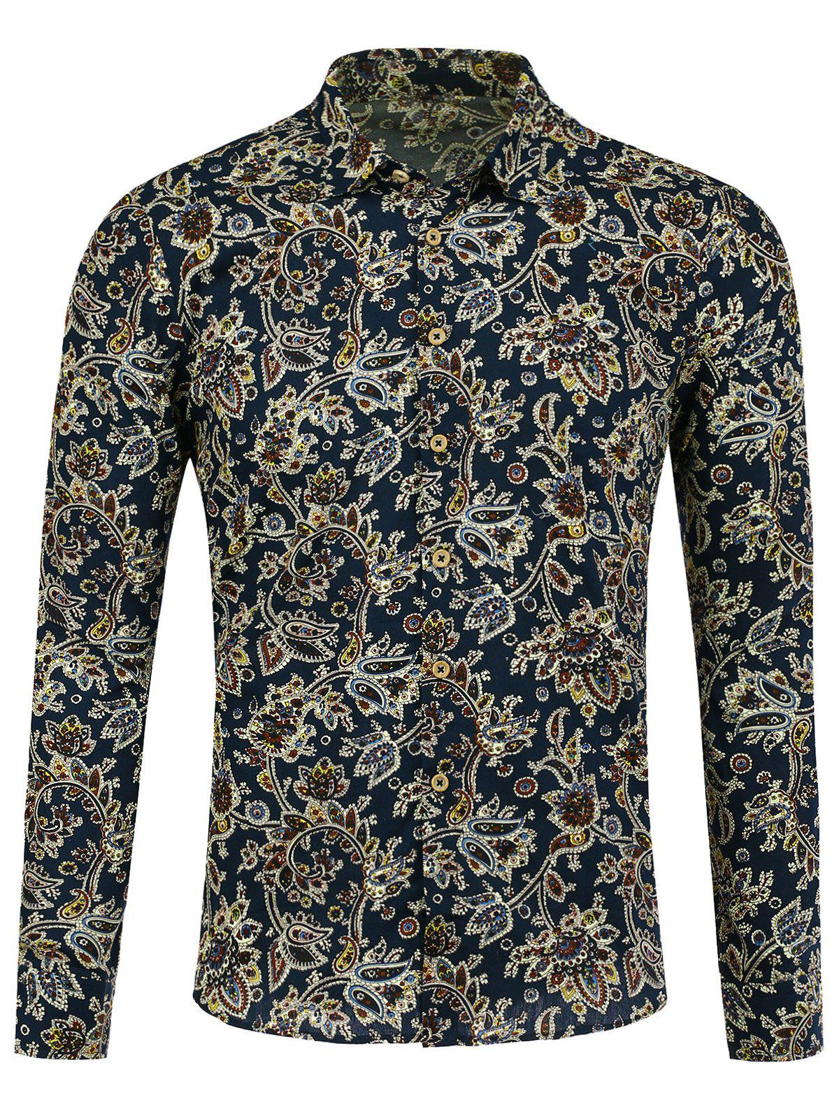Long Sleeve All Over Paisley Print Shirt - FLORAL XL