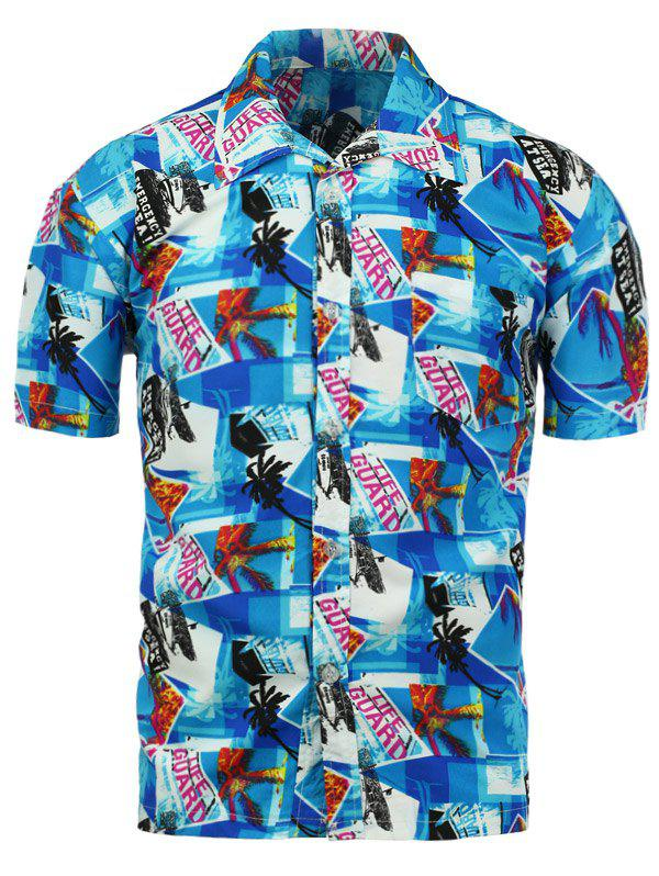 Short Sleeve Graphic Print Hawaiian Shirt - BLUE 3XL