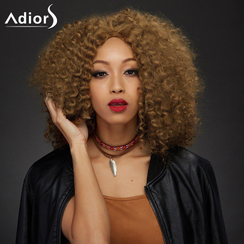 Adiors Towheaded Medium Middle Part Curly Synthetic Wig - YELLOW OCHER