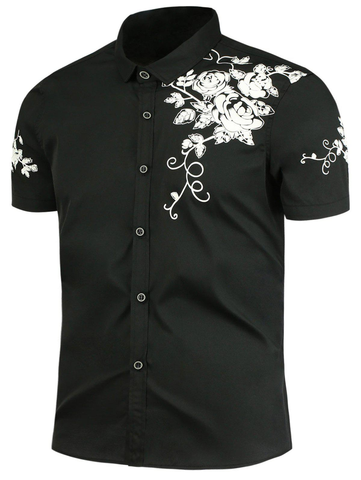 Flowers Pattern Button Up Shirt - BLACK 2XL