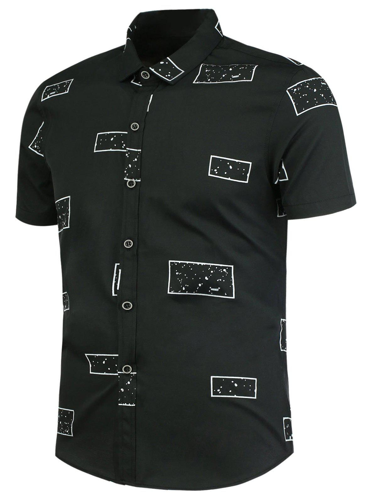 Geometric Pattern Button Up Shirt - BLACK 3XL