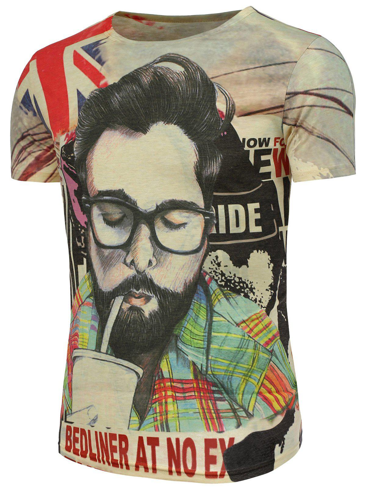 Graphic and Handsome Man Print T-Shirt - COLORMIX XL