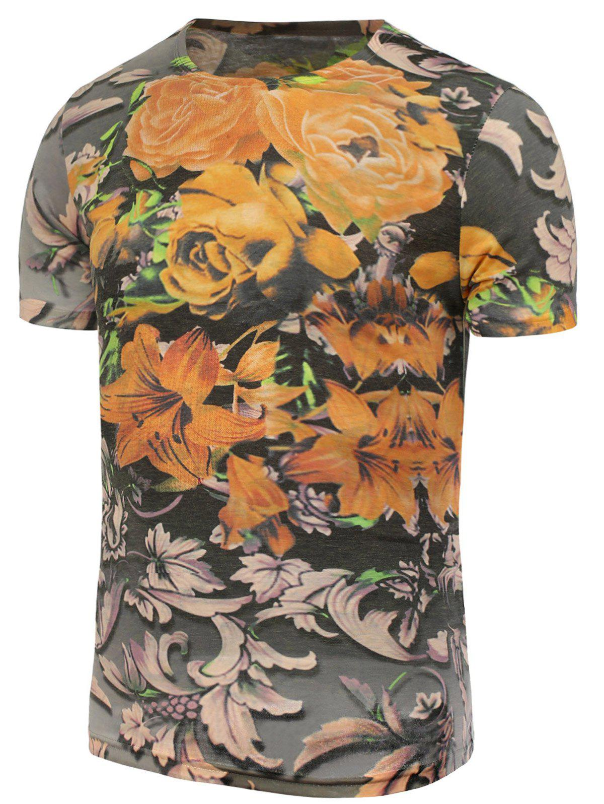 Flowers Printed T-Shirt - COLORMIX XL
