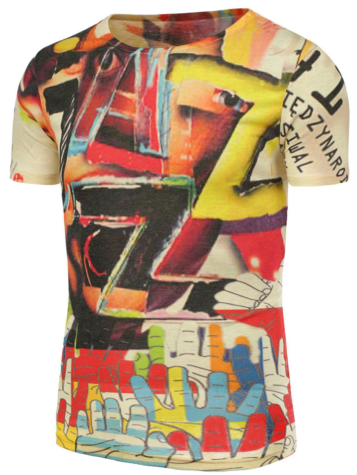 3D Colorful Graphic Printed T-Shirt - COLORMIX 4XL