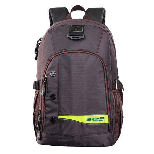 Casual Mesh Insert Nylon Backpack - brun foncé
