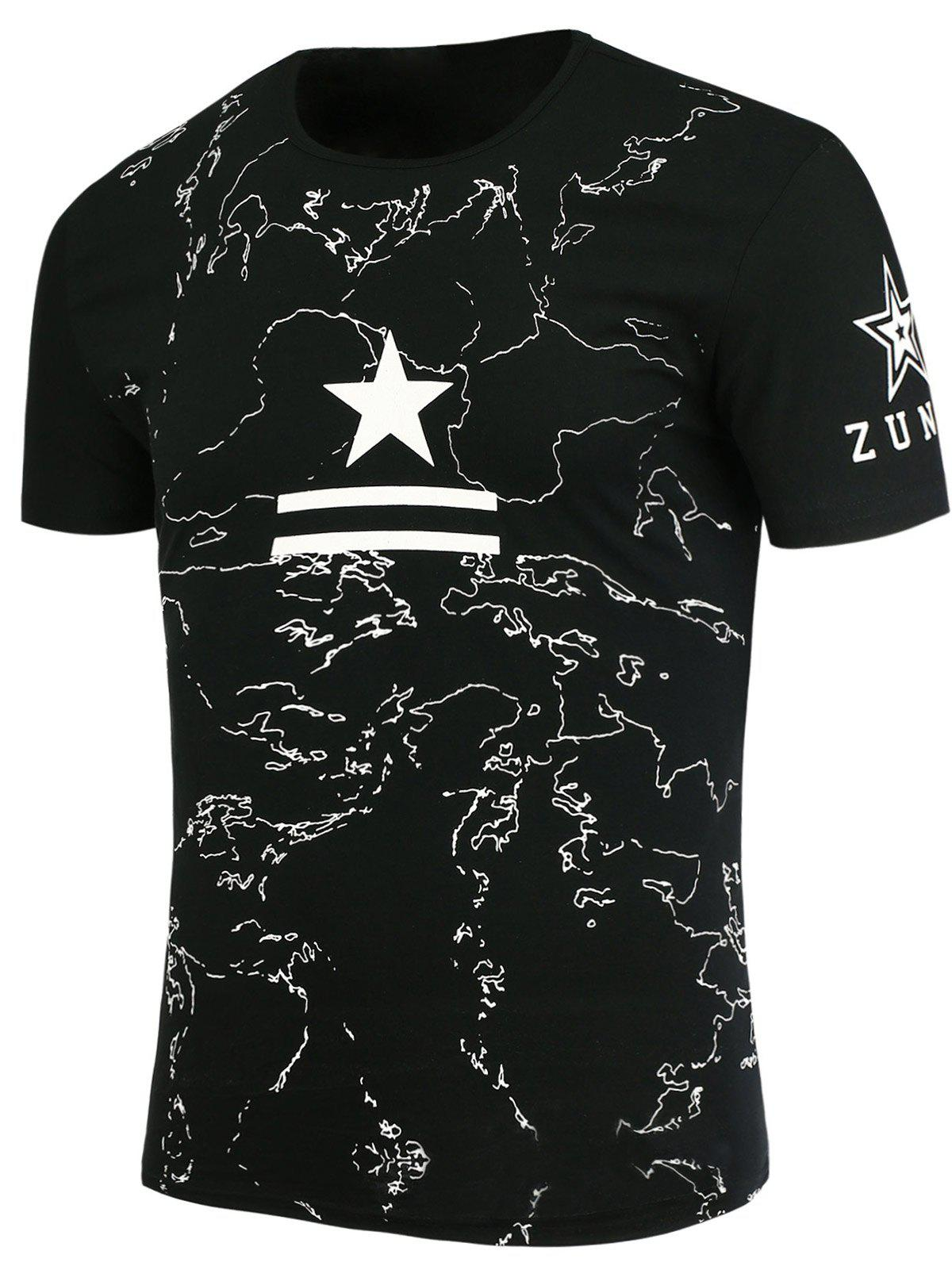 Star and Lines Printed T-Shirt - BLACK M