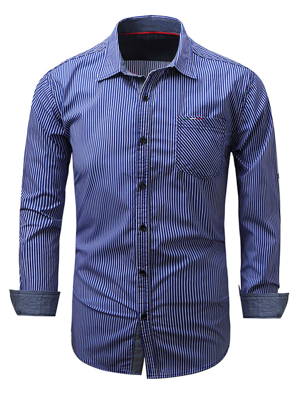 Embroidered Pocket Vertical Striped Shirt - BLUE XL