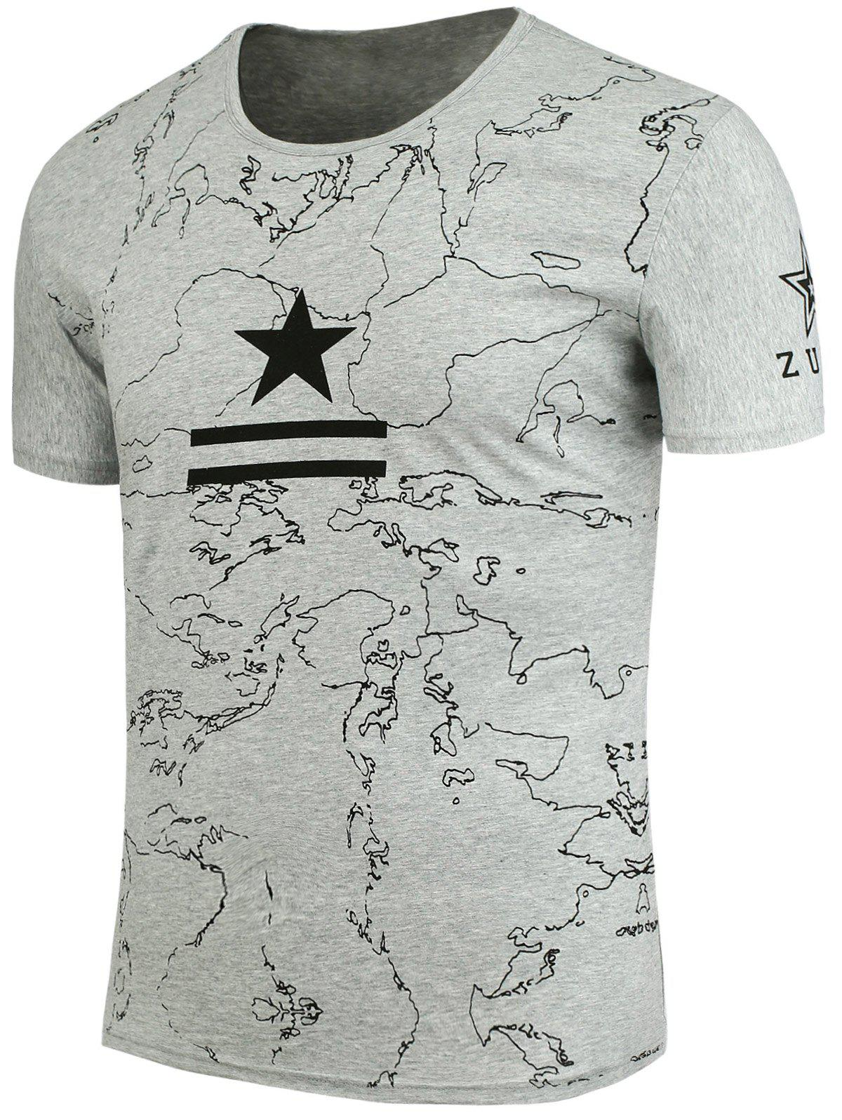 Star and Lines Printed T-Shirt - LIGHT GREY L