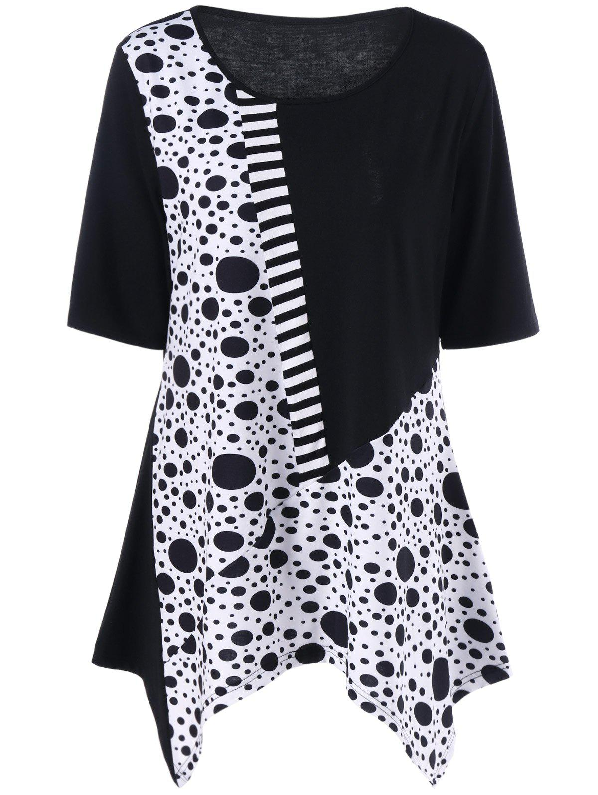 Plus Size Polka Dot Panel Asymmetric T-Shirt plus size polka dot baggy t shirt