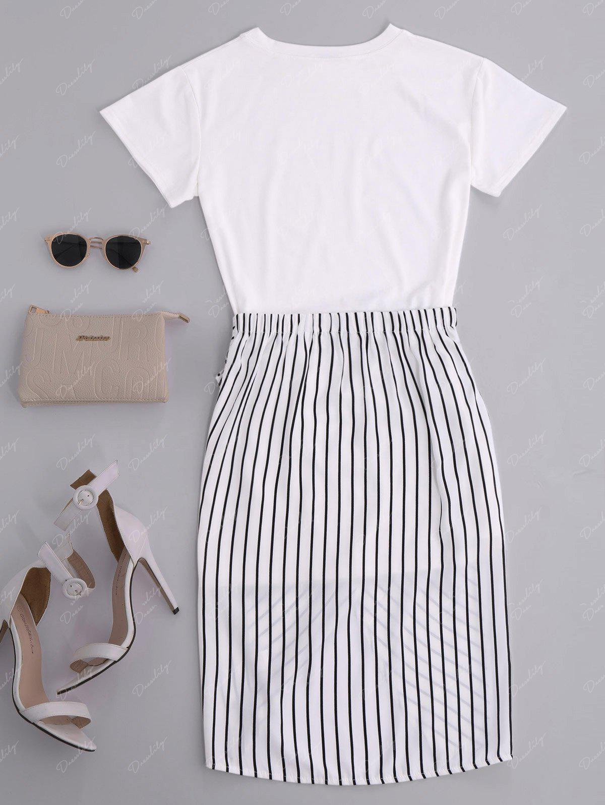 High Slit Striped Two Piece Dress - WHITE XL
