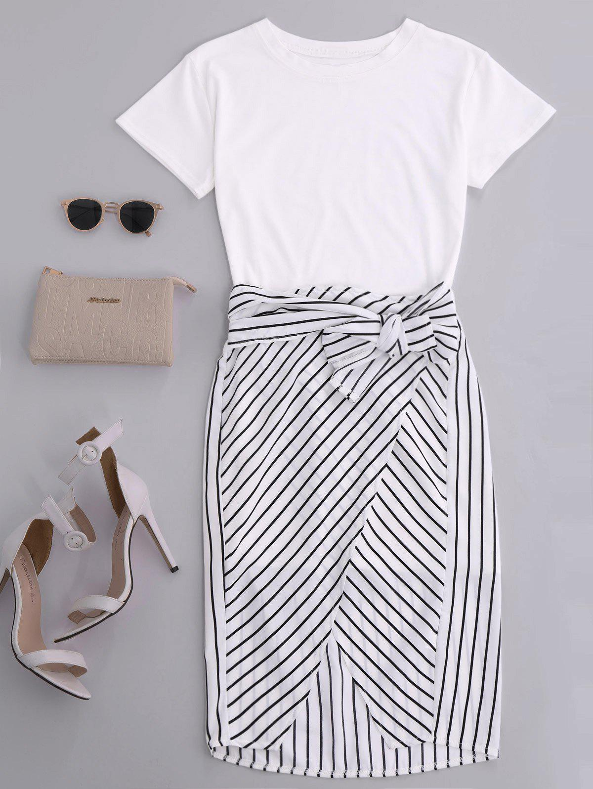 High Slit Striped Two Piece Dress - WHITE M
