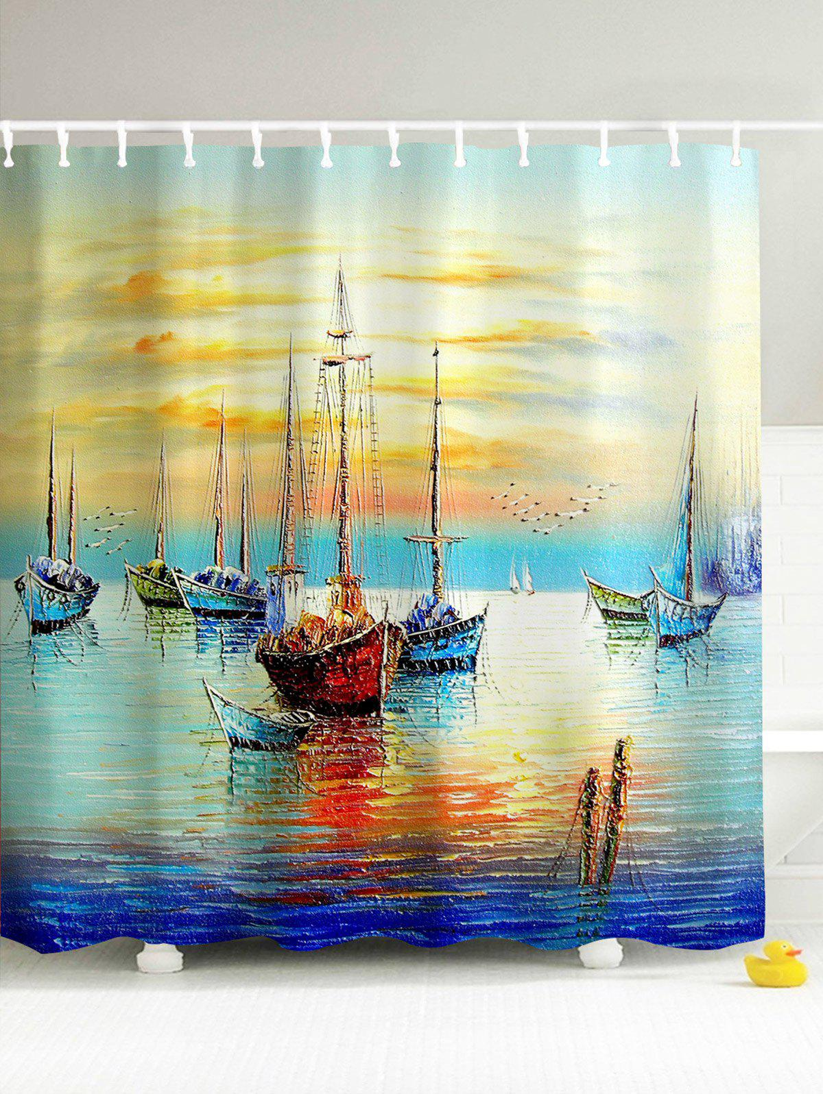 Sailing Oceangoing Voyage 3D Print Shower Curtain