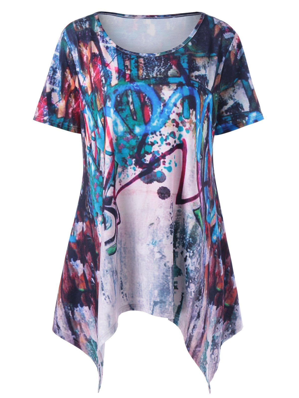 Plus Size Scrawl Print Tunic Top vine print tunic top