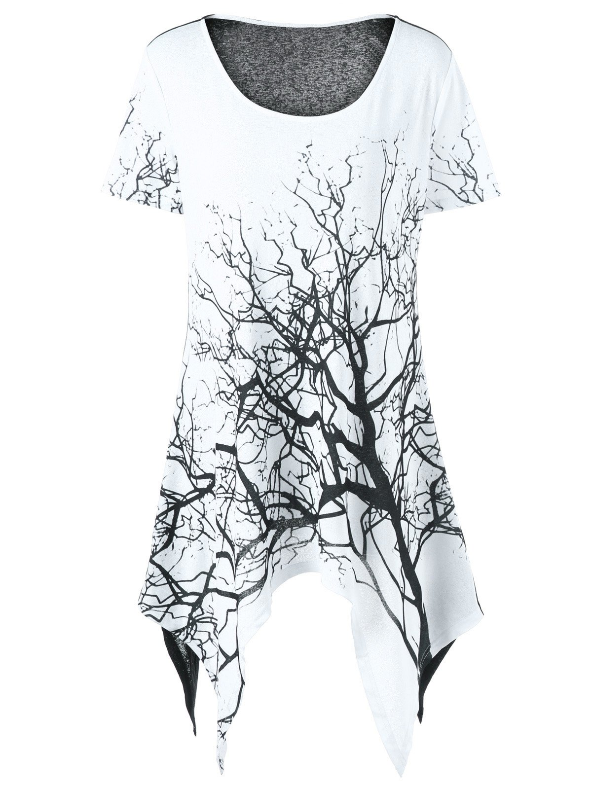 Plus Size Tree Print Asymmetrical T-Shirt - WHITE/BLACK XL