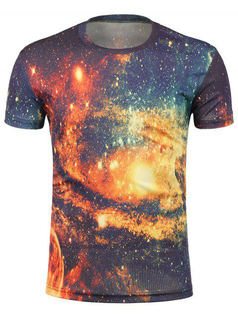 3D Galaxy Print Crew Neck Trippy T-Shirt - COLORMIX XL