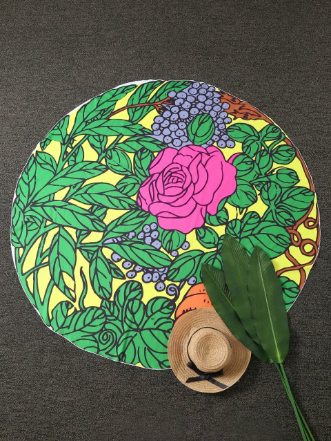 Leaves Flower Pattern Round Beach Throw - GREEN ONE SIZE