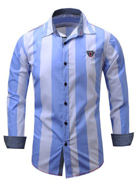 Embroidered Design Vertical Striped Shirt - CLOUDY M