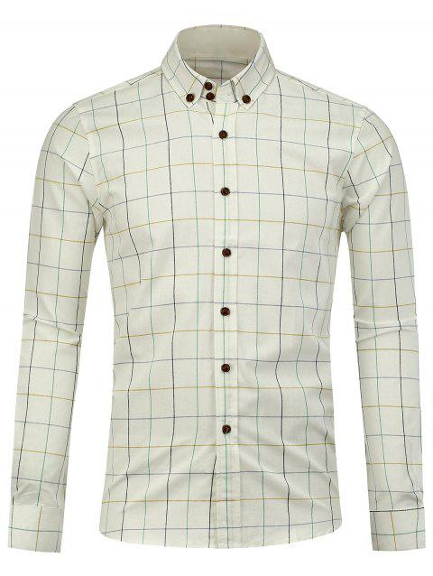 Button Down Checked Shirt - WHITE 4XL