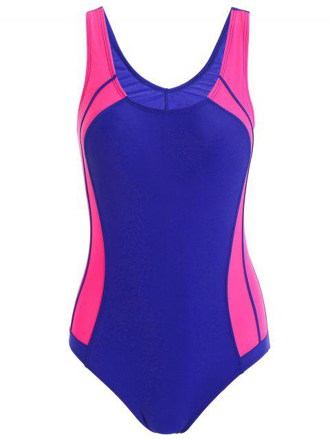 Color Block Sports One Piece Swimsuit - Bleu S