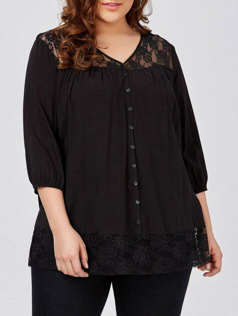 34cacb01 CUSTOM] 2019 Plus Size Lace Trim Smock Blouse In BLACK 2XL ...
