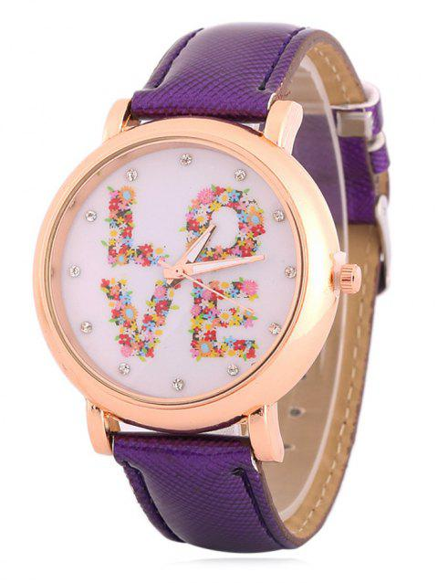 Montre Analogue Love en Strass Floral - Pourpre