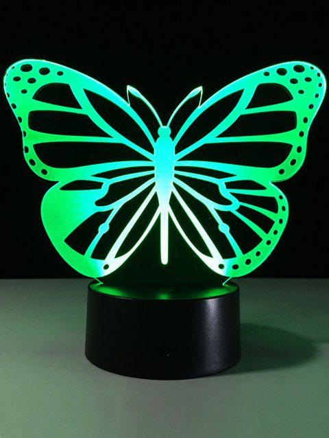 3D Illusion Butterfly Color Change LED Touch Night Light - TRANSPARENT