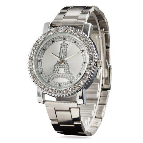 Rhinestone Eiffel Tower Wrist Watch - SILVER