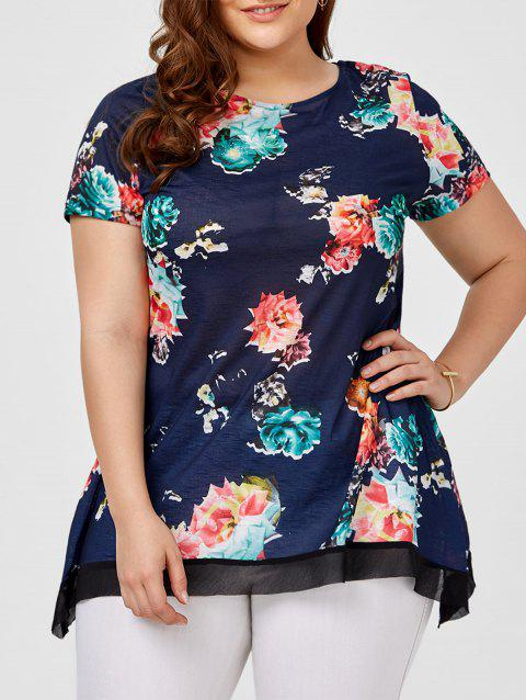 7162e15b55530 LIMITED OFFER  2019 Plus Size Floral Casual Longline T-Shirt In ...