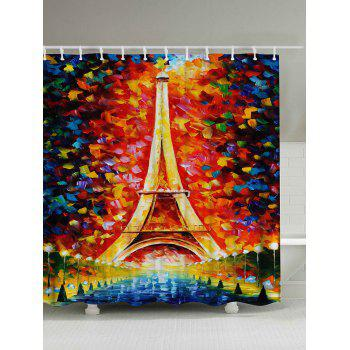 Oil Painting Eiffel Tower Shower Curtain with Hooks