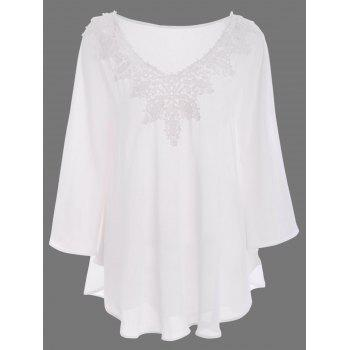 Lace Trim Long Sleeve Tunic Top