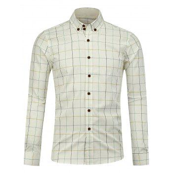 Button Down Checked Shirt - WHITE WHITE