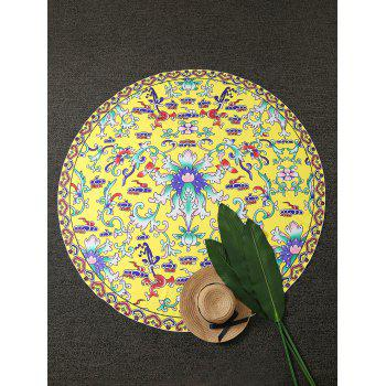 Vintage Printed Round Beach Throw - YELLOW YELLOW
