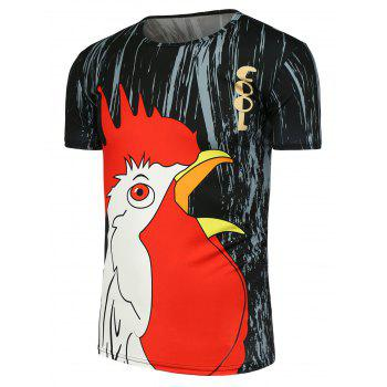 3D Chicken Head Printed T-Shirt - BLACK 3XL