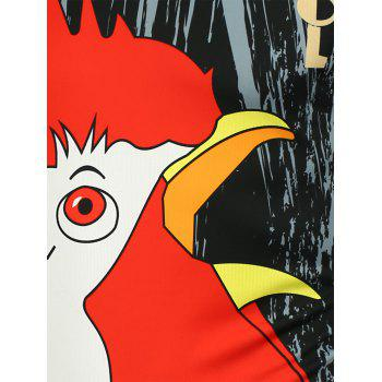 3D Chicken Head Printed T-Shirt - 3XL 3XL