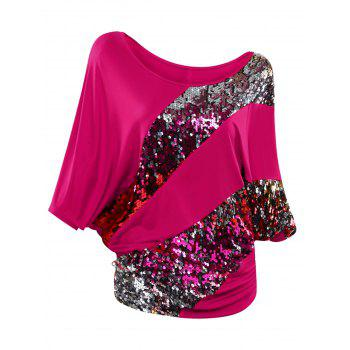 Batwing Sleeve Sequin T-Shirt