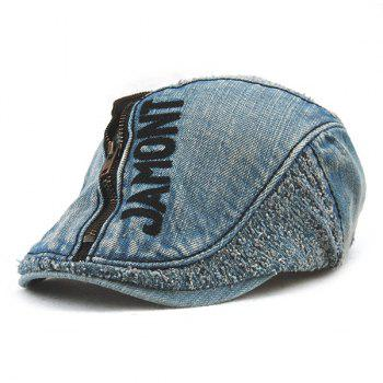Stylish Letter Shape and Zipper Embellished Do Old Denim Fabric Cabbie Hat For Men