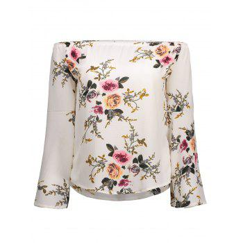 Off Shoulder Bell Sleeve Floral Print T-Shirt