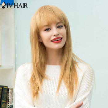 Siv Hair Long Full Bang Straight Human Hair Wig - LIGHT BLONDE LIGHT BLONDE