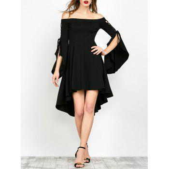 Slit Sleeve Off The Shoulder Gothic Dress - BLACK M