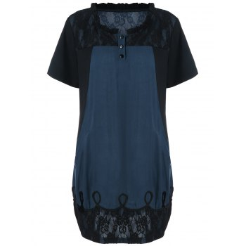 Ruffle Collar Lace Trim Longline T-Shirt