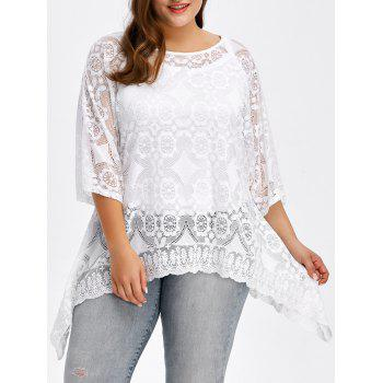 Plus Size Floral Asymmetrical Blouse
