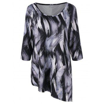 Plus Size Ink Paint Asymmetric T-Shirt